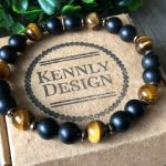 Mens beaded gemstone bracelet
