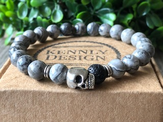 Beaded Gemstone Men Skull Bracelet