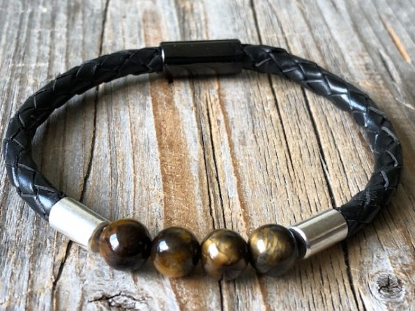 Black leather with gemstone bracelet