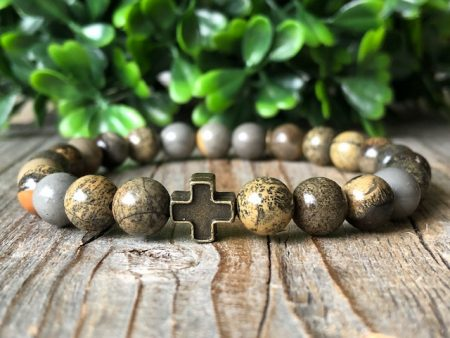 Men gemstone bracelet with cross