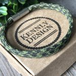 Men green paracord bracelet