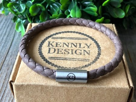 brown leather men bracelet